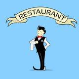 Restaurante de la bandera de With Napkin Text del camarero Fotos de archivo libres de regalías