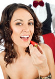 Restaurante de la fresa de la mujer Imagen de archivo libre de regalías