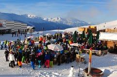 Restaurante de la montaña en el teleférico de Rothorn en Lenzerheide en las montañas suizas fotos de archivo libres de regalías
