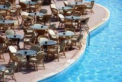 Restaurante de la piscina Fotografía de archivo libre de regalías
