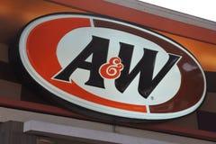 Restaurante de los alimentos de preparación rápida de A&W Fotografía de archivo