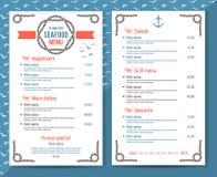 Restaurante de los mariscos o menú elegante y simple del café Imágenes de archivo libres de regalías