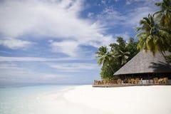 Restaurante de Maldives de la isla de Ihuru Foto de archivo libre de regalías