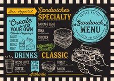 Restaurante del menú del bocadillo, plantilla de la comida stock de ilustración