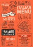 Restaurante del menú de la pizza, plantilla de la comida Fotografía de archivo libre de regalías
