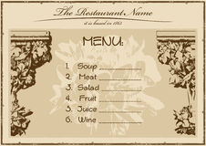 Restaurante del menú de la vendimia horizontal Fotos de archivo libres de regalías