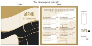 Restaurante del menú del vino Imagen de archivo