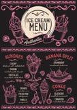 Restaurante del menú del helado, plantilla de la comida del postre Imagen de archivo libre de regalías