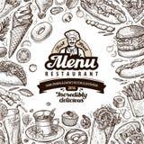 Restaurante del menú, diseño de la plantilla del café comida del bosquejo Fotografía de archivo libre de regalías