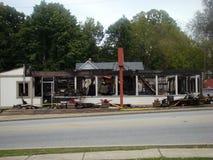 Restaurante destruído pelo fogo principal fotografia de stock royalty free