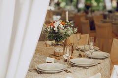 Restaurante do banquete do casamento fotos de stock