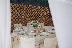Restaurante do banquete do casamento imagens de stock royalty free