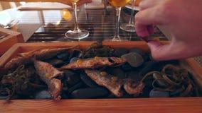 Restaurante do beira-mar Peixes nas rochas e no gosto da cerveja Movimento lento Close-up vídeos de arquivo
