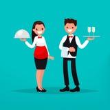 Restaurante do garçom e da empregada de mesa Ilustração do vetor Imagens de Stock
