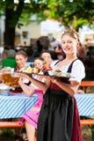Restaurante do jardim da cerveja - cerveja e petiscos Foto de Stock Royalty Free