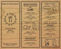 Restaurante do menu Imagem de Stock
