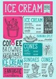 Restaurante do menu do gelado, molde do alimento da sobremesa ilustração royalty free