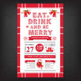 Restaurante do Natal e menu do partido, convite Imagem de Stock Royalty Free