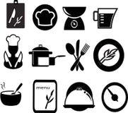 restaurante e ícones do cozimento Fotografia de Stock Royalty Free