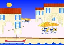 Restaurante en el puerto libre illustration