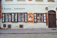 Restaurante en krumlov cesky Fotografía de archivo libre de regalías