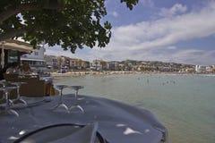 Restaurante en la playa foto de archivo