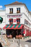 Restaurante encantador Le Consulat no monte de Montmartre, Paris, franco Fotografia de Stock Royalty Free
