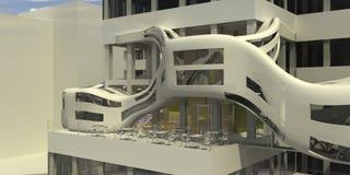Restaurante futurista del café   Imagen de archivo