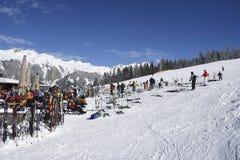 Restaurante Gaschurn de los esquiadores Imágenes de archivo libres de regalías