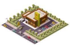 Restaurante isométrico do fast food do vetor Imagens de Stock Royalty Free