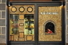 Restaurante italiano con la carne florentina en la exhibición Foto de archivo