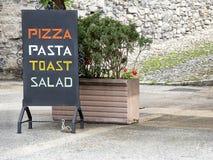 Restaurante italiano del menú Fotografía de archivo libre de regalías