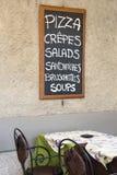 Restaurante italiano del menú Fotografía de archivo