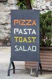 Restaurante italiano del menú Imágenes de archivo libres de regalías