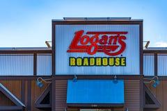 Restaurante Logo Sign do Roadhouse de Logan foto de stock
