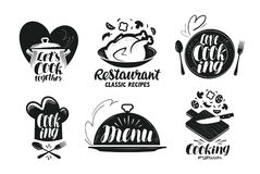 Restaurante, menú, sistema de etiqueta de la comida El cocinar, cocina, icono de la cocina o logotipo Letras, ejemplo del vector  Imagen de archivo libre de regalías