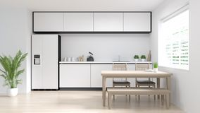 Restaurante moderno de cocinar interior 3d de la comida de la cocina del sitio limpio que rinde el fondo de hogar blanco del dise imagenes de archivo