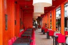 Restaurante oriental en liquidación anaranjada en Camboya Imágenes de archivo libres de regalías