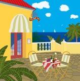 Restaurante por el mar stock de ilustración
