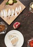 Restaurante que serve Mini Desserts Concept Top View imagens de stock