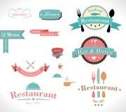 Restaurante retro das etiquetas Fotografia de Stock