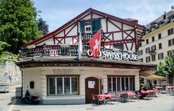Restaurante suíço velho da casa na cidade velha da lucerna switzerland Foto de Stock Royalty Free
