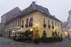Restaurante tradicional, ciudad superior, Zagreb, Croacia foto de archivo libre de regalías