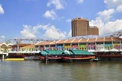 Restaurantes de Claks Quay Singapore Fotografia de Stock