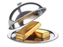 Restaurantglasglocke mit goldenen Bars und offenem Deckel Lizenzfreies Stockfoto