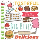 Restauranthintergrund mit verschiedenem Nahrungsmittel- und Getr?nkgekritzel lizenzfreie abbildung