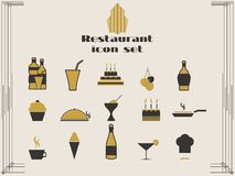 Restaurantikonen in der Art- DecoArt Kochen und Küchenikonen Lizenzfreie Stockfotografie
