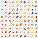 100 Restaurantikonen eingestellt, isometrische Art 3d Stockfotos