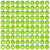 100 Restaurantikonen grün eingestellt Lizenzfreies Stockbild