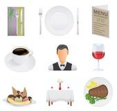 Restaurantikonensatz Stockfoto